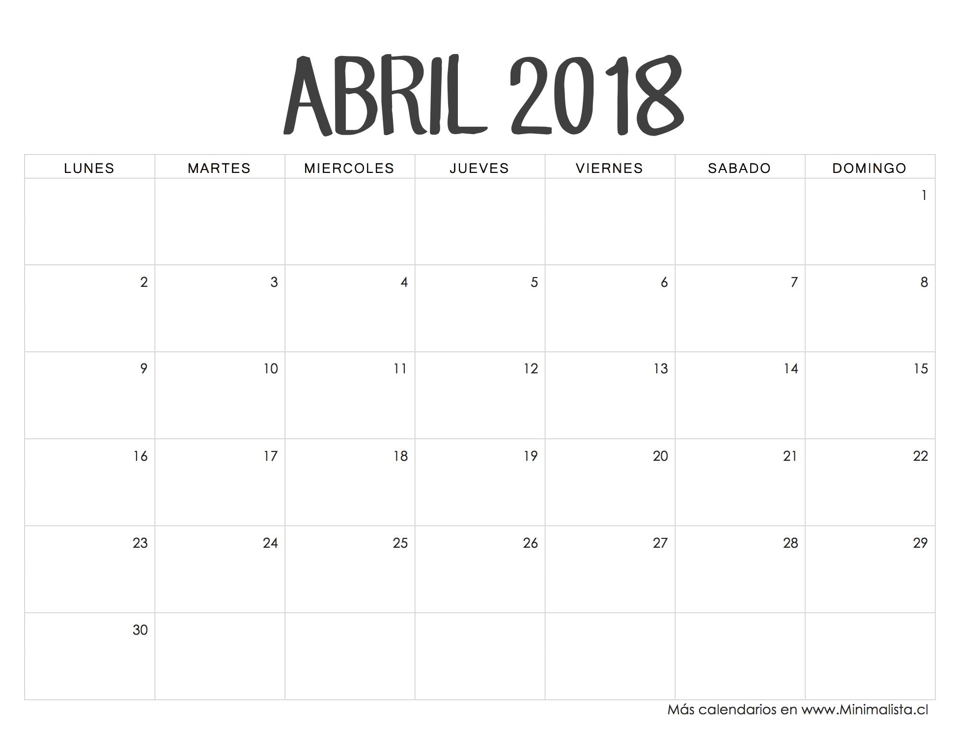 Calendario Para Escribir.Calendarios 2018 Para Imprimir Minimalista
