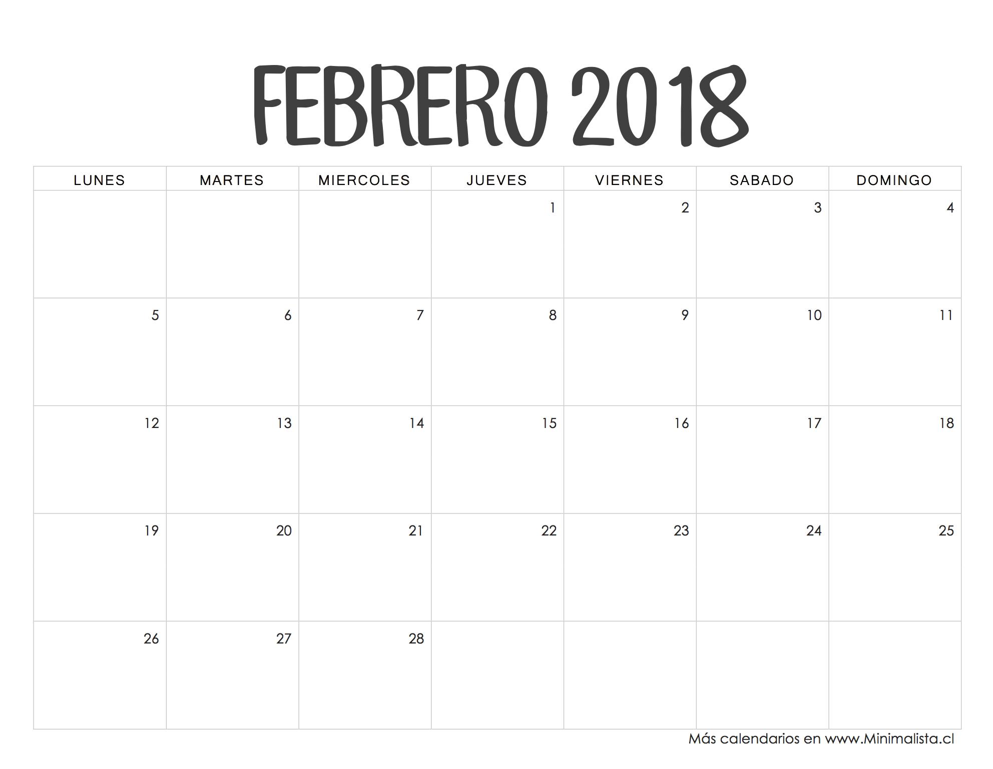 Calendarios 2018 para imprimir minimalista for Calendario de pared 2018