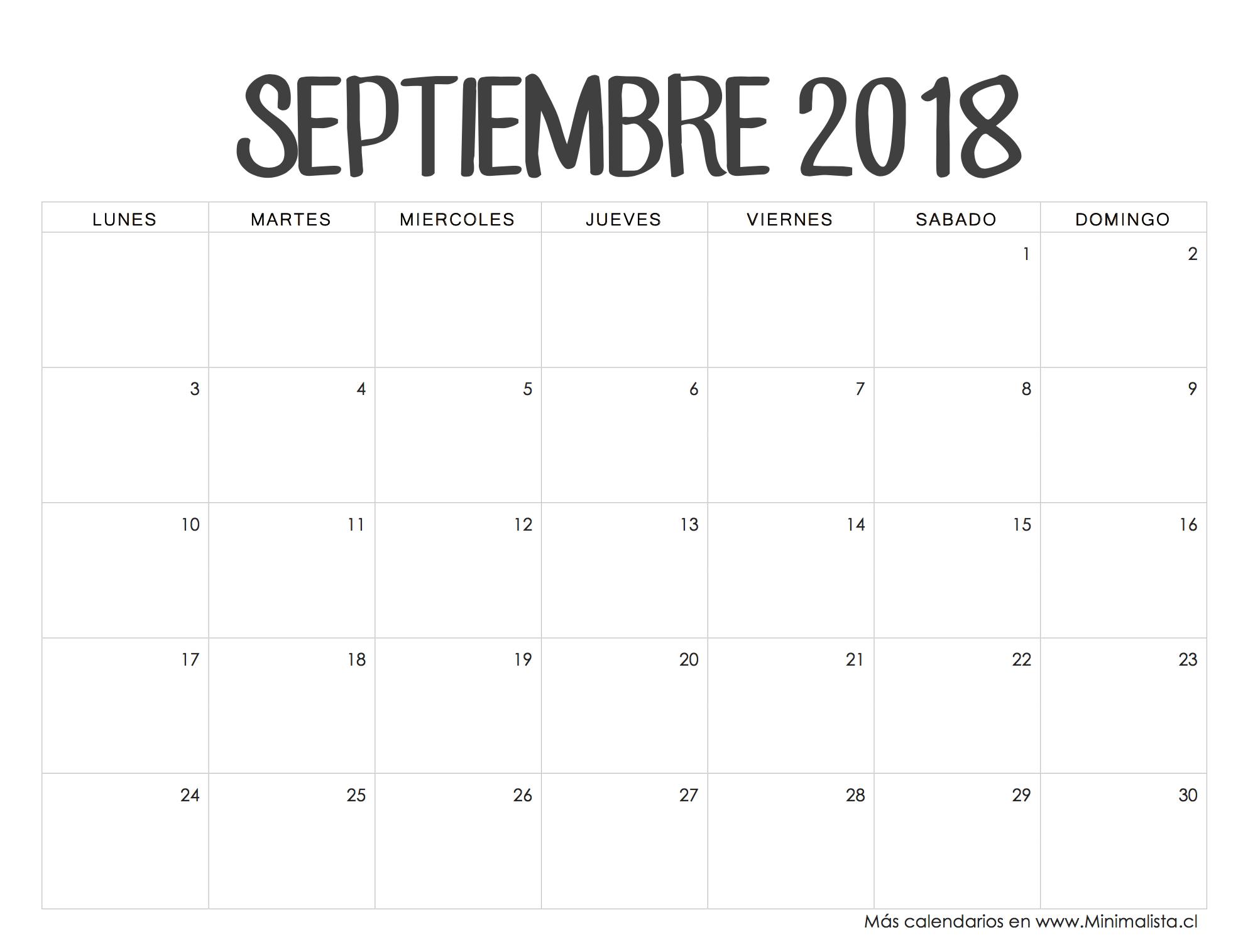 Calendarios 2018 para Imprimir - Minimalista